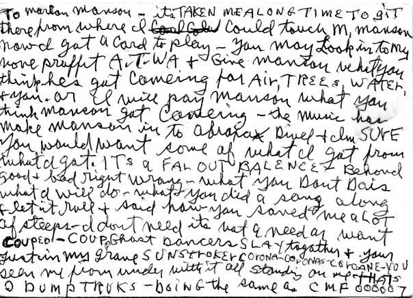 Charles Manson Letter to Marilyn Manson