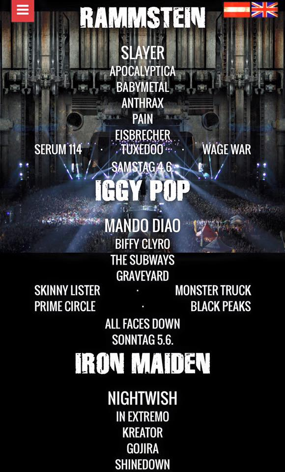 Rock In Vienna main bands line-up